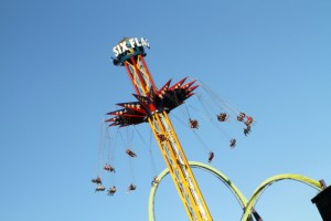 SkyScreamer backwards. Courtesy Six Flags Discovery Kingdom