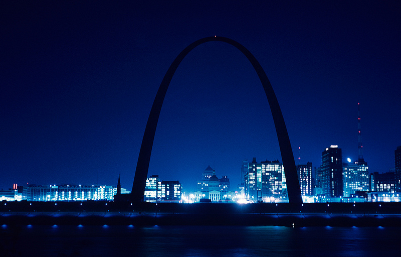 Night view of Gateway Arch and downtown St. Louis. Photograph by Ralph D'Oench, 1966. The iconic shape and gleaming metal of Eero Saarinen's Gateway Arch draws millions to the riverside slope of St. Louis. This is the same place where French pioneers founded a fur-trading settlement, where Lewis and Clark brought back wonders from the American West, and where thousands seeking new life set out for the frontier. The Gateway Arch is one of 50 places featured in the Missouri History Museum's 250 in 250 exhibition.