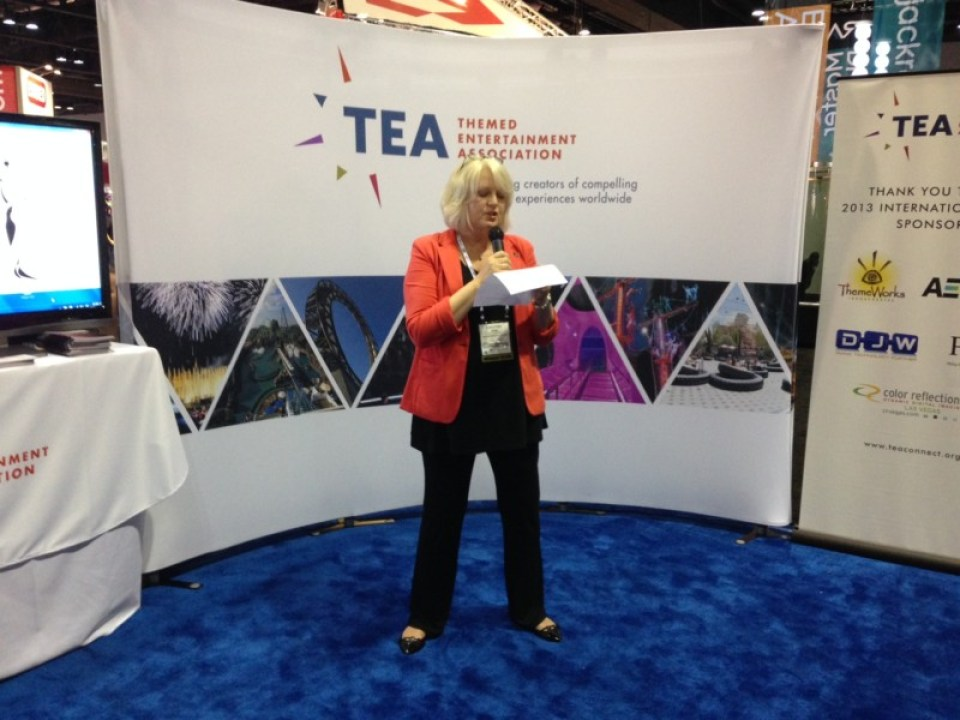 TEA President Christine Kerr announces the 2014 Thea recipients.  Photo by InPark's Martin Palicki