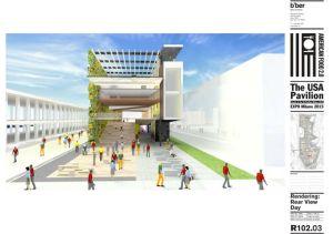 USA pavilion rendering (rear) for Milan 2015 pavilion rear. Courtesy James Biber Architects
