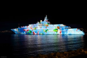 Delta Media Servers power a projection mapped display on a superyacht at the Sky Diving World Championships Dubai. Image courtesy VLS.