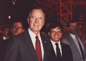 Then-Vice President George Bush tours the US Pavilion at Vancouver Expo 86 in company with James Ogul. Photo courtesy James Ogul.
