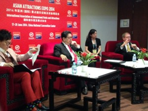 Andrew Lee, Mario Mamon, an interpreter and Paul Nolan field questions about the Asian market