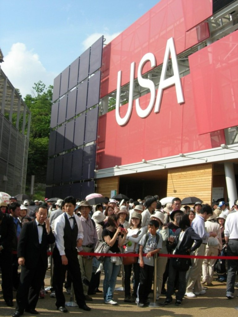 A crowd waits to enter the US Pavilion at Aichi Expo 2005 in Nagoya, Japan