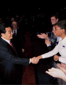 Chinese President Hu meets the Student Ambassadors at the USAP