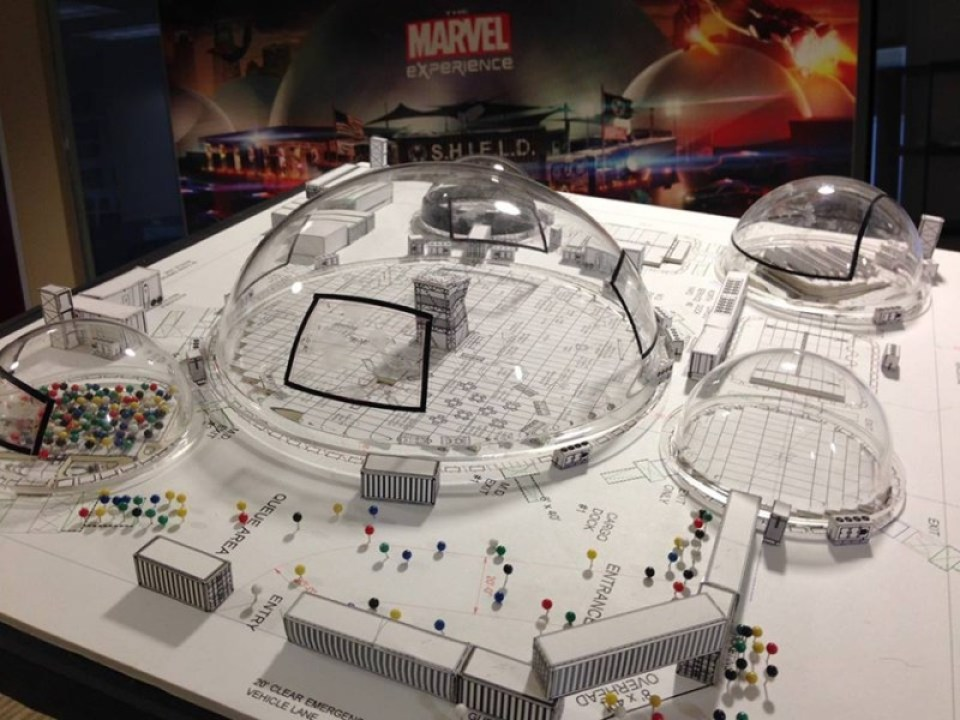 Scale model of The Marvel Experience, courtesy Hero Ventures