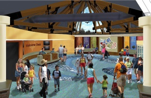 A sense of arrival: The expansive new welcome center at The Living World at the north entrance to the Saint Louis Zoo. JCO rendering courtesy Saint Louis Zoo.