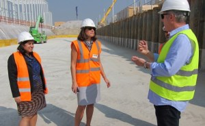 Jim Biber, architect of the USA Pavilion, provides a construction progress report to U.S. State Department Deputy Assistant Secretary, Bureau of European and Eurasian Affairs, Julieta Noyes during her first visit to the Expo Milano 2015.