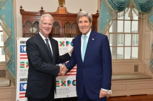 Doug Hickey, Commissioner General of the USA Pavilion, and Secretary of State John Kerry