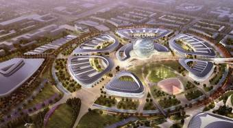 Aerial rendering of site for Astana Expo 2017, courtesy the Expo.