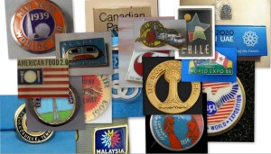 Assortment of Pavilion pins from Milan Expo 2015