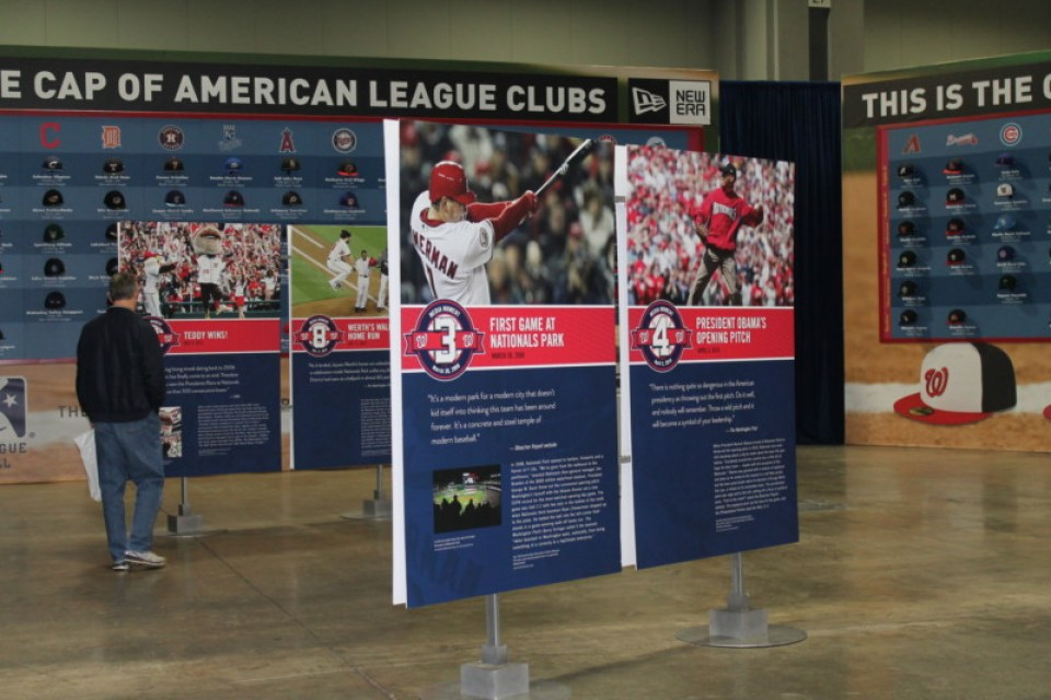 The Nationals at 10 exhibit was also incorporated into the Washington Nationals Winterfest fan event this past December. Photo courtesy of BaAM.