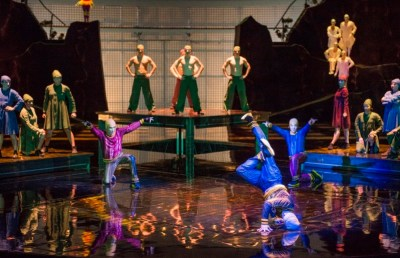 For the first time in any Cirque du Soleil show, a B-Boy trio is featured in their own electrifying act. B-Boying is a physically demanding form of dance, in which performers execute acrobatic tricks and moves, including flips and spins, to music.