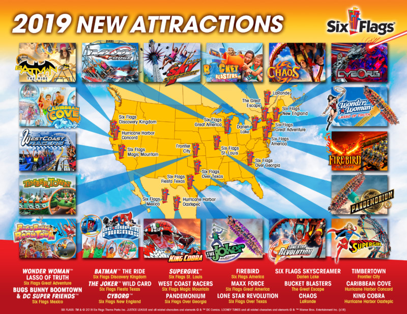 Six Flags 2019 Calendar InPark Magazine – Six Flags 2019 lineup includes launch coasters