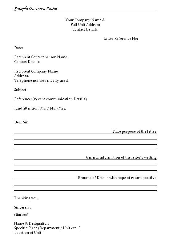 Sample Business Letter Format Samples Word Document Download