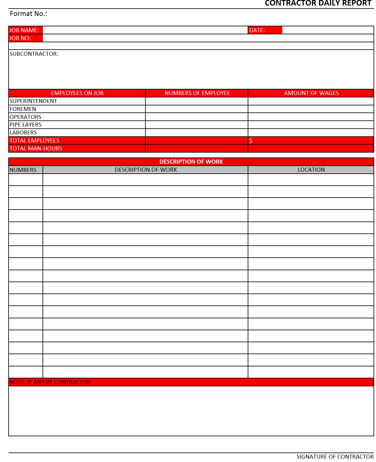 Contractor Daily Report