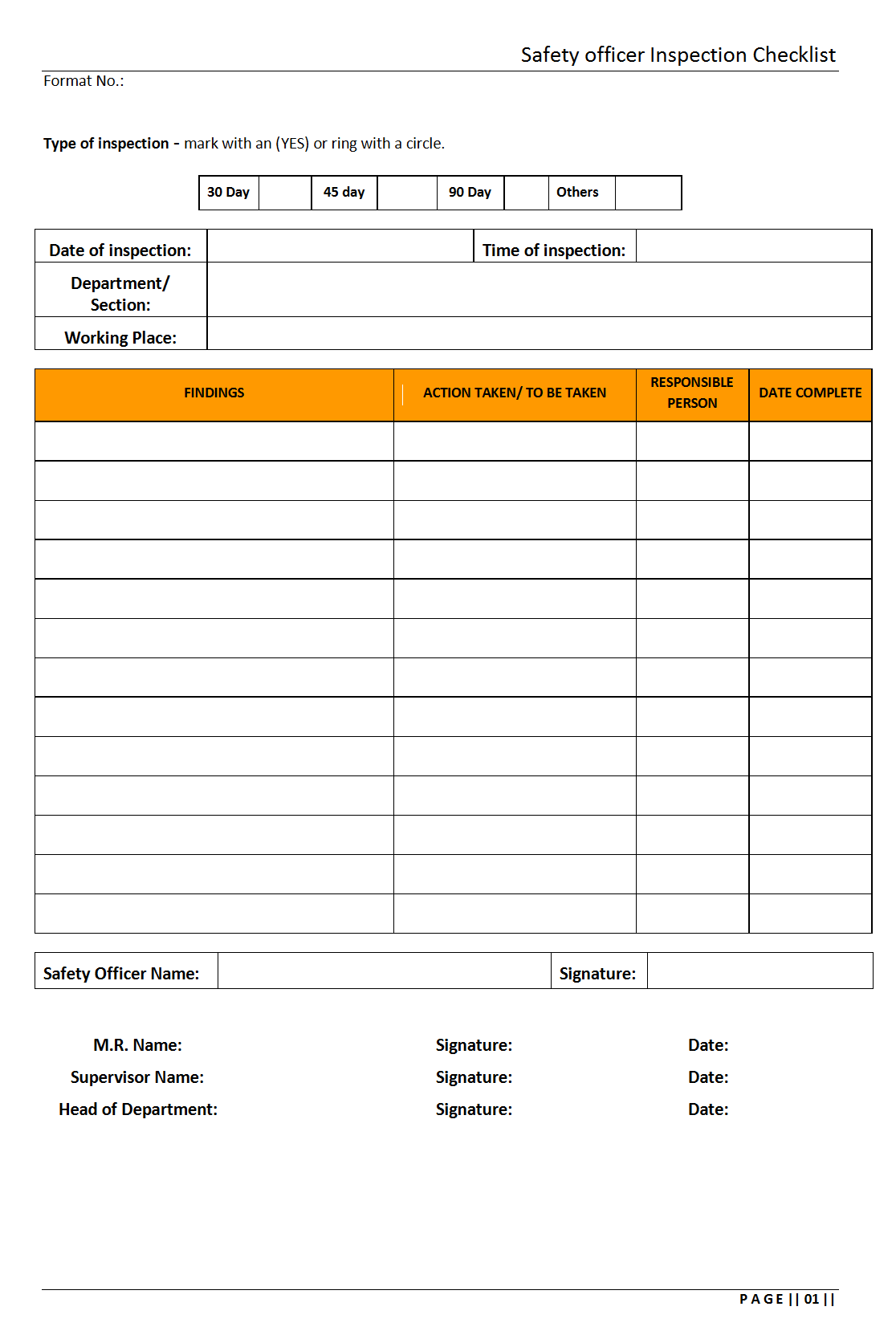 Safety Officer Inspection Checklist