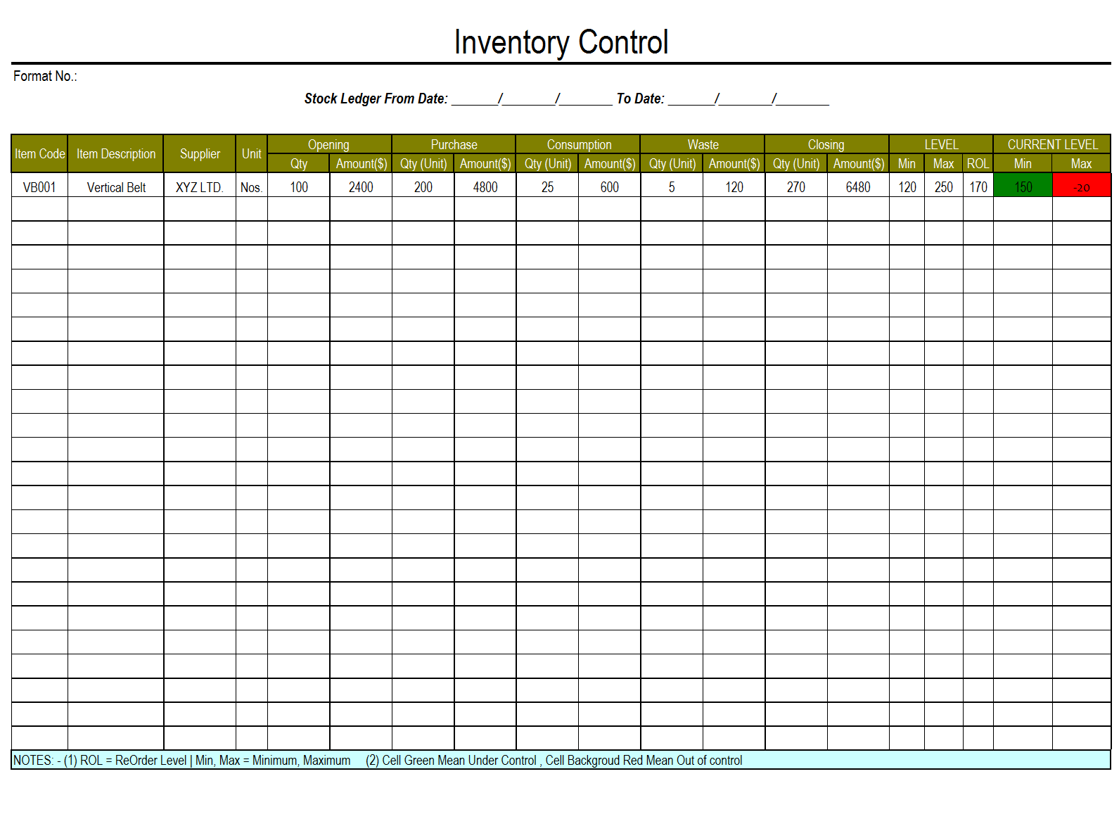 Inventory Control Template