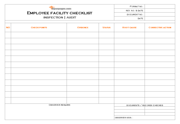 Employee facility audit process and documentation