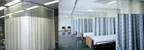 Sistema de rieles con cortinas antibacterianas de uso