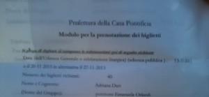 Il fax inoltrato alla Prefettura della Casa Pontificia