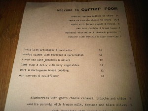 The Corner Room Menu