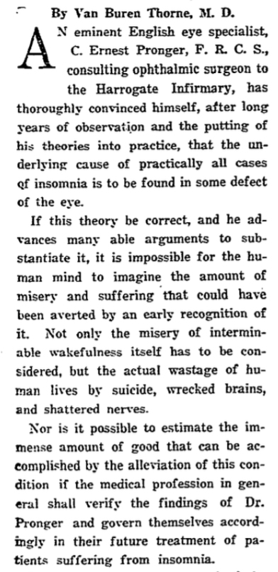 First 4 Paragraphs of 1915 New York Times Article on Insomnia