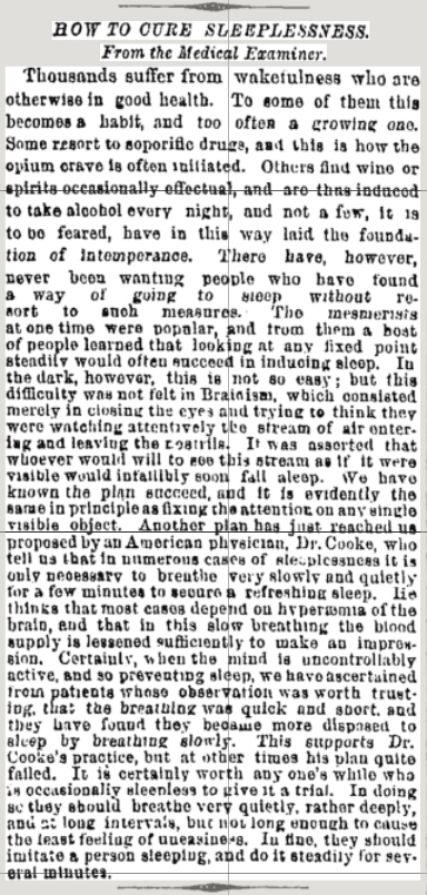 Short Article in the New York Times on Saturday December 30, 1876