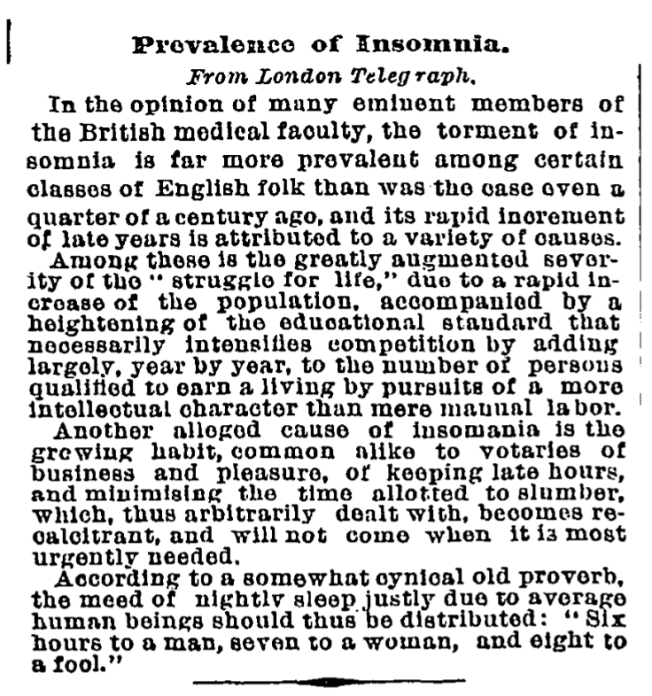Prevalence of Insomnia 1892 from the archives of the New York Times but taken from the London Telegraph