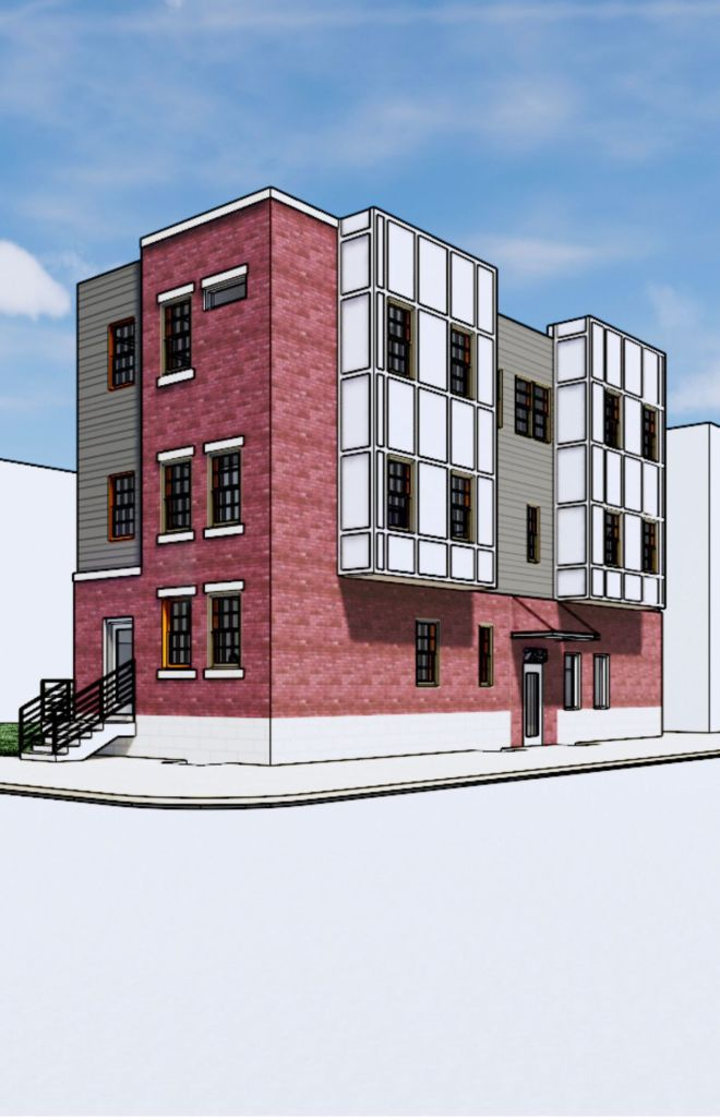An artist's rendering shows an apartment building planned for a vacant lot at 29th and Diamond Streets in Strawberry Mansion.