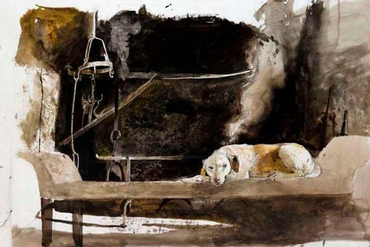 """from the exhibition """"Ides of March"""" at the Brandywine River Museum through May 19.""""Ides of March Study,"""" watercolor on paper, 1974. (c) Andrew Wyeth. The Andrew and Betsy Wyeth Collection."""