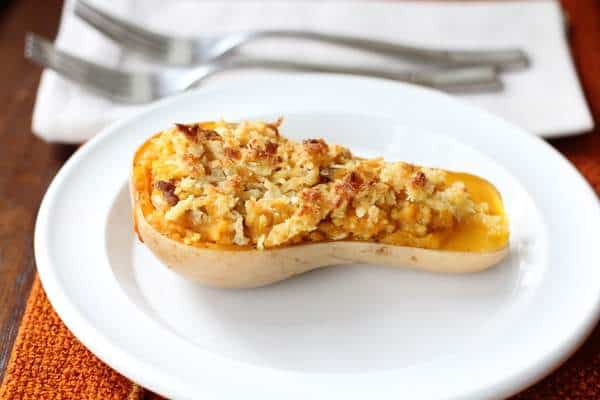 Twice-Baked Butternut Squash with Quinoa Pecans and Parmesan