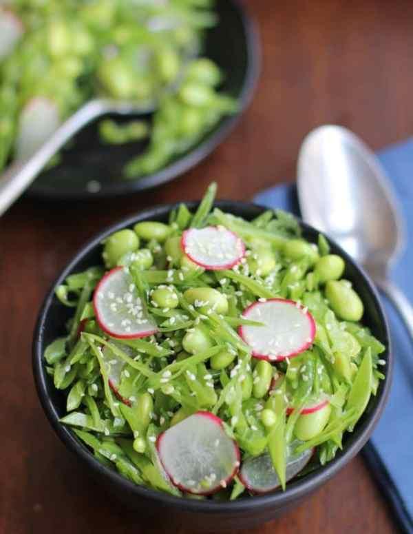 Snow Pea Radish and Edamame Salad with Sesame Vinaigrette :: Inquiring Chef