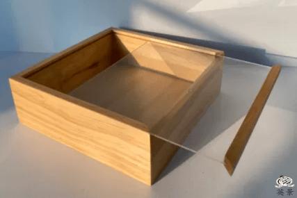 玻璃拉蓋包裝木盒