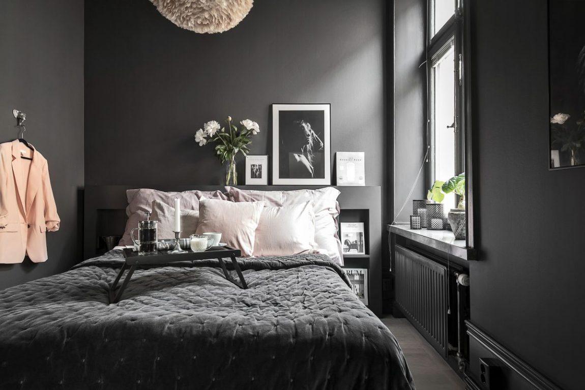 Scandinavische slaapkamer met zwarte muren  Inrichting
