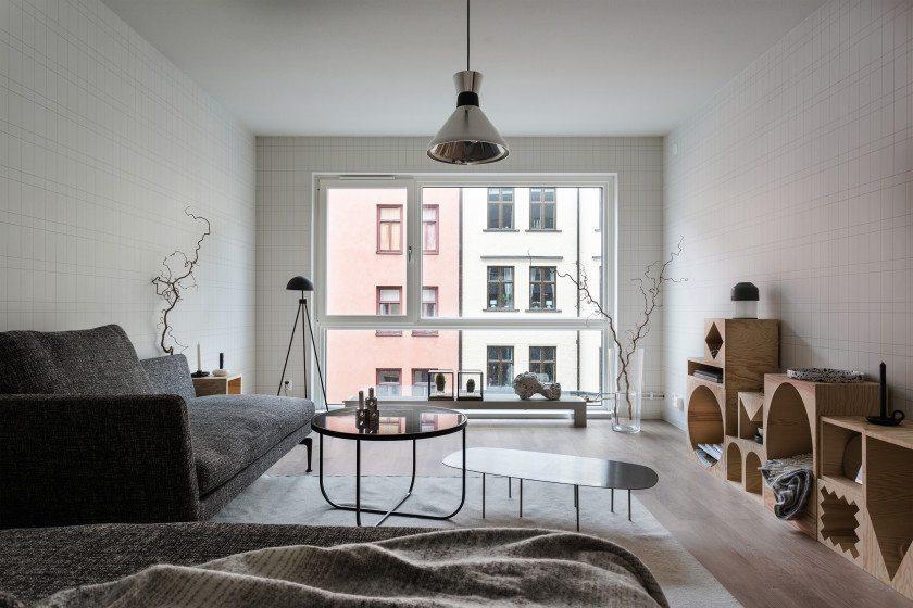 Volledige moderne woonkamer met mooi behang  Inrichting