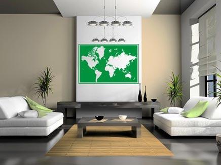 Woonkamer met wereldkaart  Inrichtinghuiscom