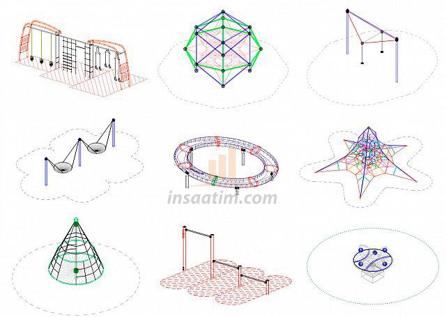 Oyun Alanı Ekipman Autocad Çizimleri
