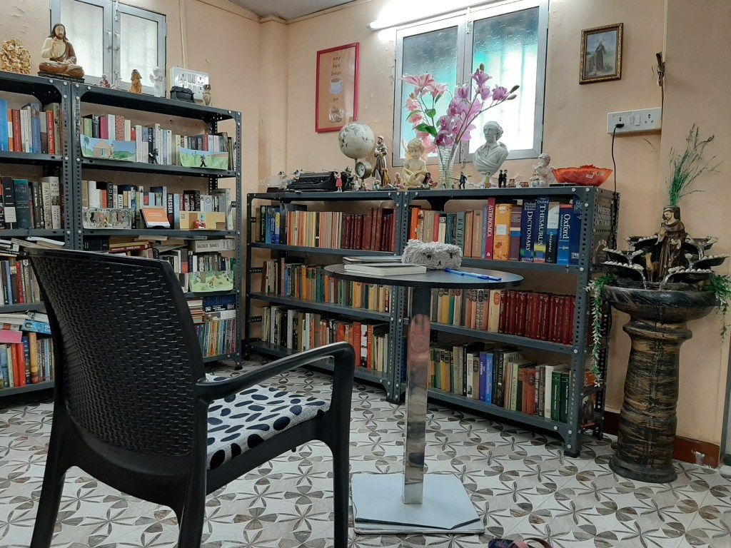 Office cum writing hut of Fiza Pathan with books and other curios.