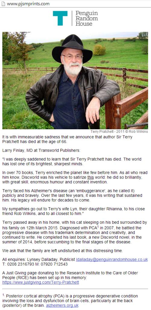 Death Announcement - Terry Pratchett