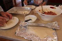 Wrapping lumpia with family