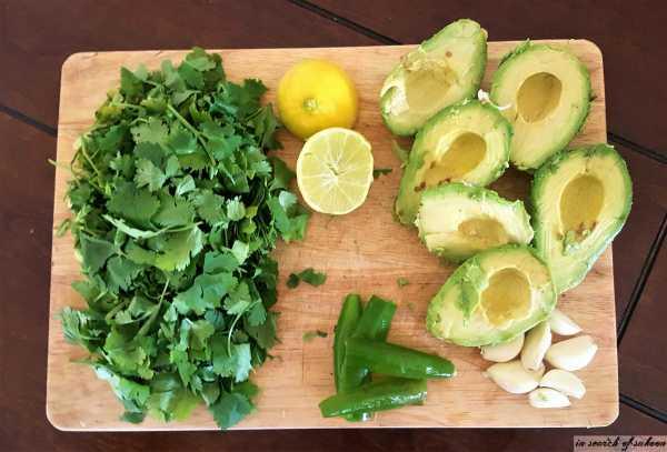 ingredients to make avocado cilantro dressing