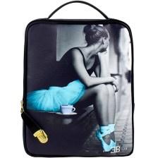 Γυναικεία σακίδια πλάτης με print ballerina Γκρι