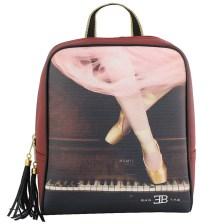 Σακίδια πλάτης με print ballet & piano Μπορντώ