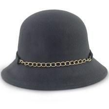 Καπέλα με διακοσμητική αλυσίδα και φιόγκο Γκρι