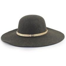 Καπέλα με μεταλλικό διακοσμητικό με strass Λαδί