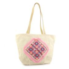 Γυναικείες τσάντες θαλάσσης με μοτίβο με λουλούδια Μπεζ