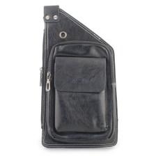 Ανδρικές τσάντες ώμου με εξωτερική τσέπη Μαύρο