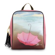Γυναικεία σακίδια πλάτης με print ροζ ομπρέλα Σομόν