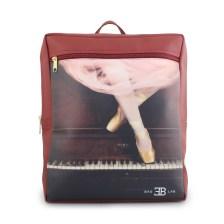 Γυναικεία σακίδια πλάτης με print ballet & piano Μπορντώ